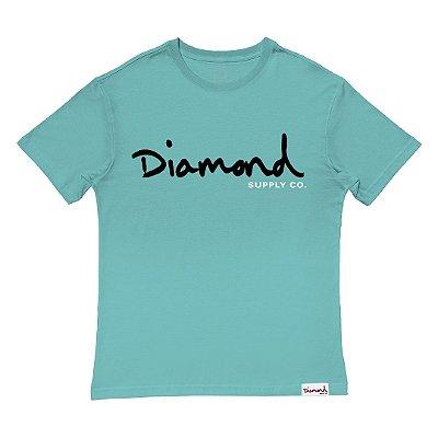 Camiseta Diamond OG Script Tee Oversize Masculina Azul