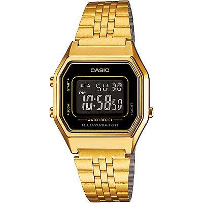 Relógio Casio Vintage LA680WGA Preto/Dourado