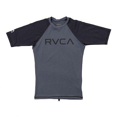 Lycra Rashguard RVCA Manga Curta Solid SS Cinza/Preta