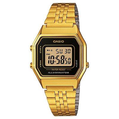 Relógio Casio Vintage LA680WGA-1DF Preto/Dourado