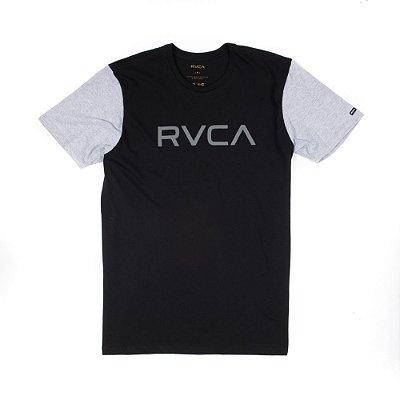 Camiseta RVCA Big RVCA Bi Color Preta/Cinza