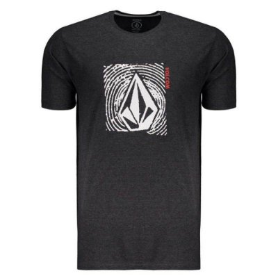 Camiseta Volcom Silk Stonar Waves Preto Mescla