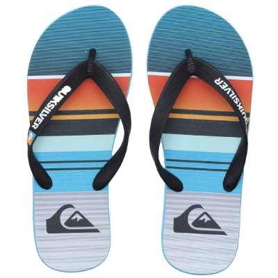 Chinelo Quiksilver Molokay Everyday Stripe Azul/Laranja