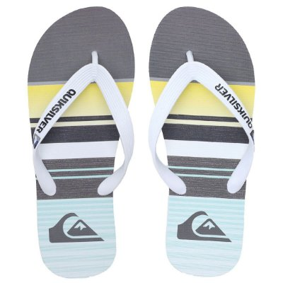 Chinelo Quiksilver Molokay Everyday Stripe Cinza/Amarelo