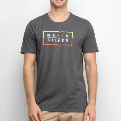 Camiseta Quiksilver Clued Up Cinza Escuro