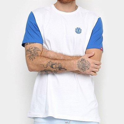Camiseta Element Logo Bicolor Branca/Azul