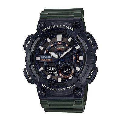 Relógio Casio Standard AEQ-110W-3AVDF Preto/Verde