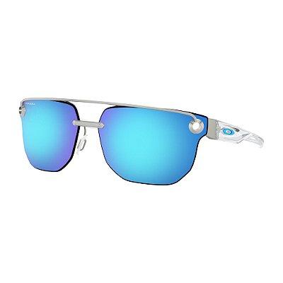 Óculos de Sol Oakley Chrystl Satin Chrome W/ Prizm Sapphire