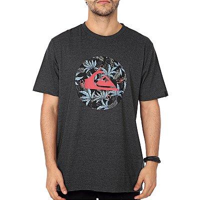Camiseta Quiksilver Floral Cinza Escuro