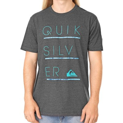 Camiseta Quiksilver Three Lines Cinza Escuro
