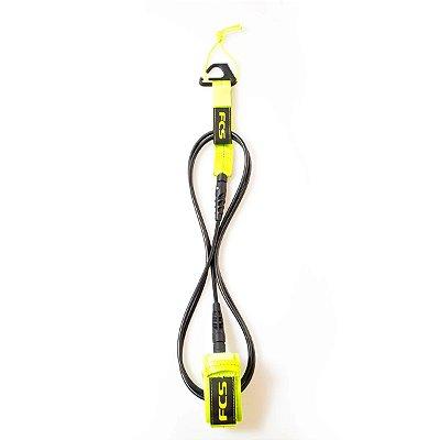 Leash FCS 6' - 5,5mm Essential Comp Preto/Verde Limão