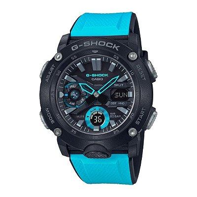 Relógio G-Shock Carbon Core Guard GA-2000-1A2DR Masculino Preto/Azul