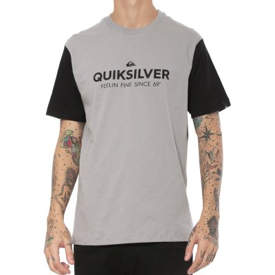 Camiseta Quiksilver Scripted Masculina Cinza/Preto