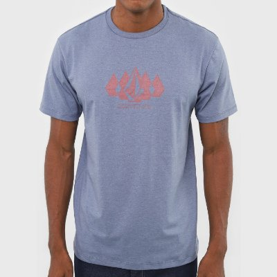 Camiseta Volcom Stone Army Azul Mescla