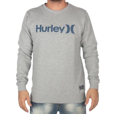 Moletom Hurley Careca O&O Masculino Cinza Claro