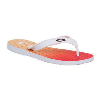 Chinelo Oakley Wave Point 4.0 Masculino Branco/Laranja