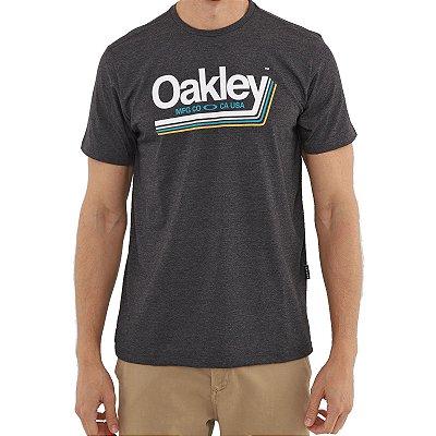 Camiseta Oakley Tractor Label Masculina Cinza Escuro