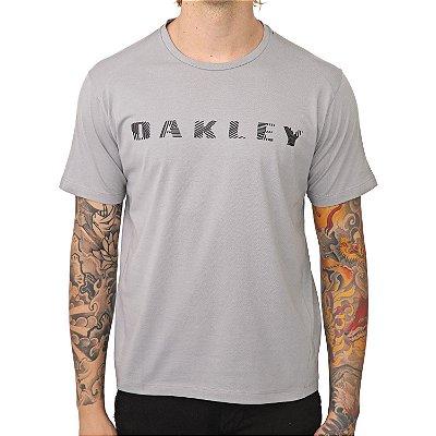 Camiseta Oakley Bark Pattern SS Masculina Cinza Claro
