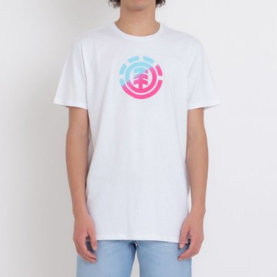 Camiseta Element Quadrant Teal Pink Masculina Branco