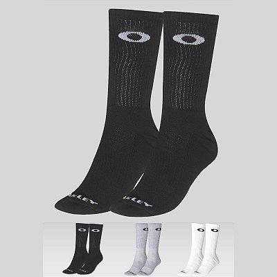 Meia Oakley Essential Crew Sock Alto Kit 3 Pares Preto/Cinza/Branco