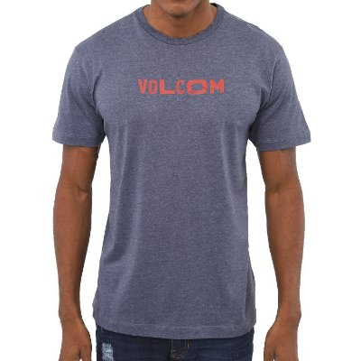 Camiseta Volcom Reply Masculina Azul Mescla