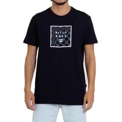 Camiseta Billabong Stacked Fill Masculina Preto