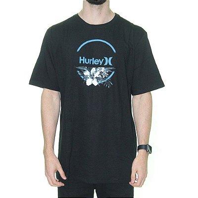 Camiseta Hurley Aqua Floral Masculina Preto