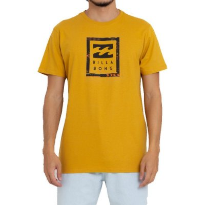Camiseta Billabong United Stacked Masculina Amarelo