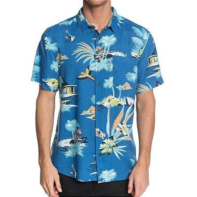 Camisa Quiksilver Manga Curta Vacancy Masculina Azul