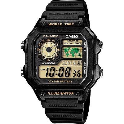 Relógio Casio Standard AE-1200WH-1BVDF Preto/Dourado