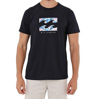 Camiseta Billabong Floral Wave Masculina Preto