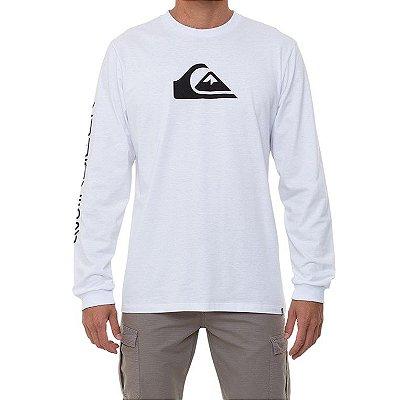 Camiseta Quiksilver Manga Longa Comp Logo Masculina Branco