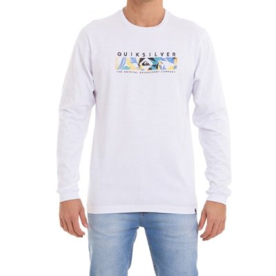 Camiseta Quiksilver Manga Longa Distant Fortune Masculina Branco