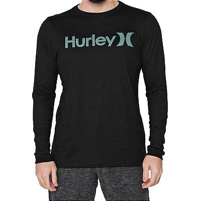 Camiseta Hurley Manga Longa O&O Solid Masculina Preto