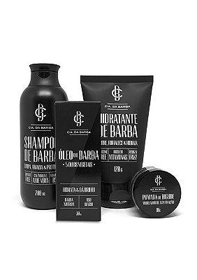 Kit  para a Barba: Shampoo de Barba + Hidratante de Barba + Óleo de Barba + Pomada de Bigode CIA. DA BARBA