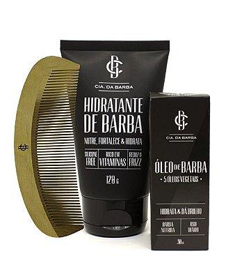 Kit para a Barba: Hidratante de Barba + Óleo de Barba + Pente CIA. DA BARBA