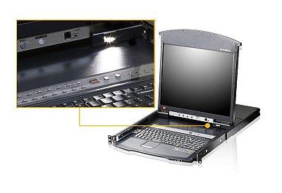 KL1508Ai Switch 1-Local / Remoto para Compartilhamento de 8 portas KVM sobre LCD de trilho duplo Cat 5 de 8 portas com porta de ligação em cadeia