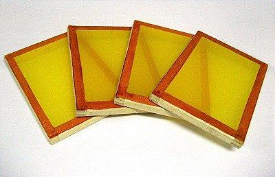 Tela Serigrafia 20x30cm 120 Fios Poliéster Amarelo Quadro de Madeira