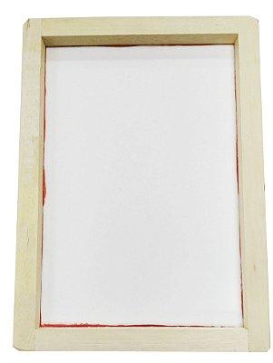 Tela Serigrafia 30x44cm 120 Fios POLIÉSTER Branco Quadro em Madeira