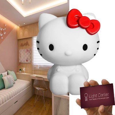 Abajur Luminária Led Hello Kitty