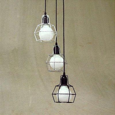 Luminária Pendente Aramado Pucon T203-3 Golden Arte