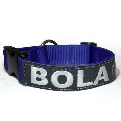 Coleira de Identificação para Cachorro - Azul e Cinza
