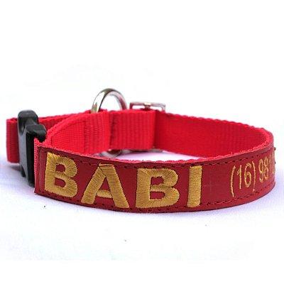 Coleira de Identificação para Cachorro - Vermelha