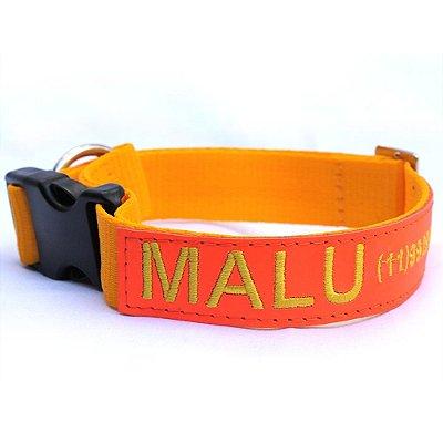 Coleira de Identificação para Cachorro - Amarela e Laranja