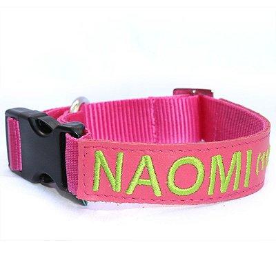 Coleira de Identificação para Cachorro - Rosa e Verde