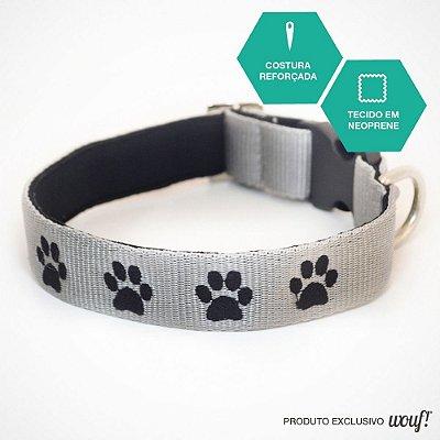 Coleira de Identificação para Cachorro - Fita Cinza