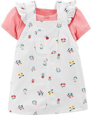 Vestido Jardineira + Camisetinha Carter's