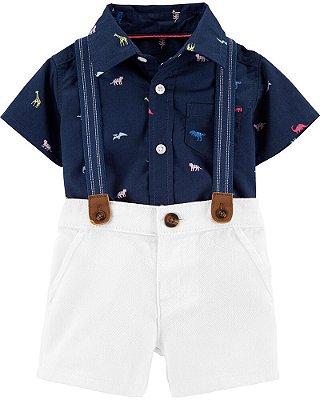 Conjunto Verão Camisa Body + Shorts com Suspensório Carter's