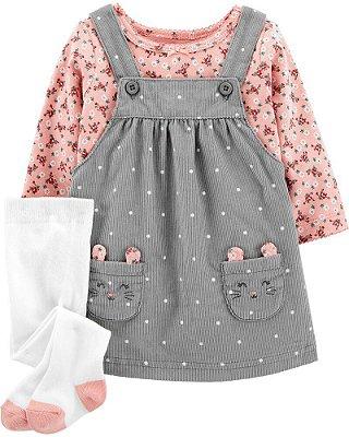 Conjunto Vestido + Camisetinha + Meia Carter's