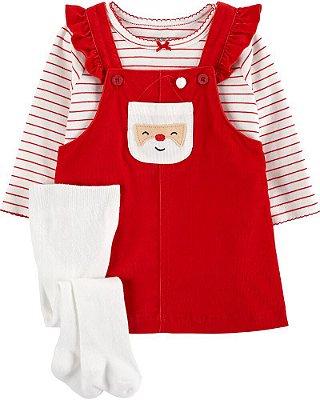 Conjunto Vestido + Camisetinha + Meia Carter's - Coleção de Natal